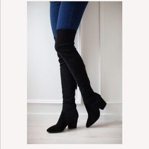 Ellis Black Over the Knee Suede Leather Boots 39